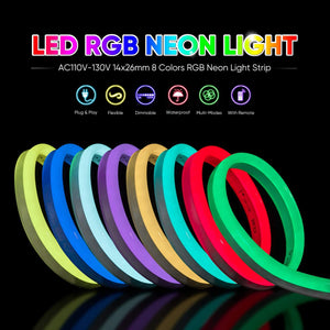 110V 14x26mm LED RGB Neon Rope Light - 32.8ft -