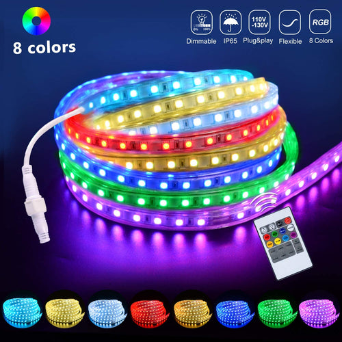 110V 7x15mm LED RGB Strip Light - 16.4ft -