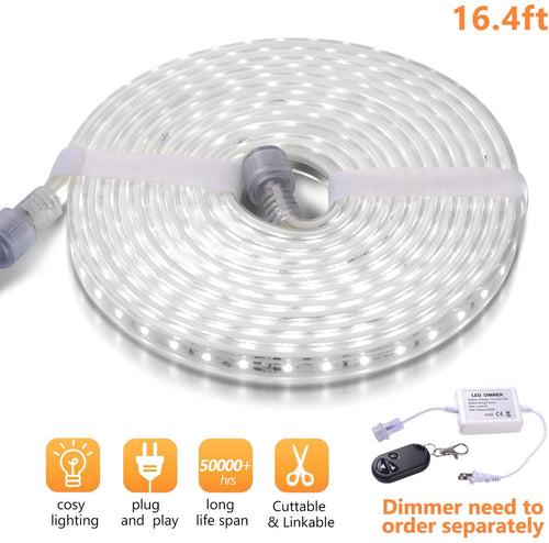 110V 7x13mm LED Strip Light 6500K Daylight White -16.4ft -