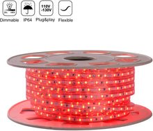 Load image into Gallery viewer, 110V 7x10mm Red LED Strip Light - 50ft -