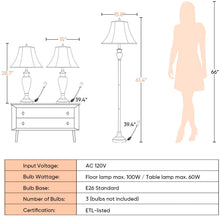 Load image into Gallery viewer,  Traditional Table Lamps Floor Lamp 3-Pieces Lamps Pack-Shine Decor