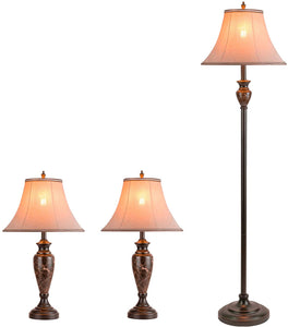 Traditional Table Lamps Floor Lamp 3-Pieces Lamps Pack-Shine Decor