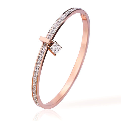 Capri Heart Rose Gold Bangle