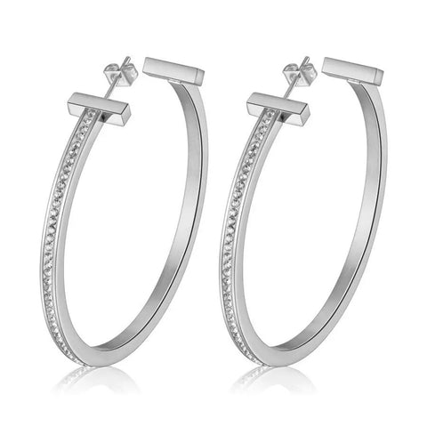Aria Silver Hoop Earrings