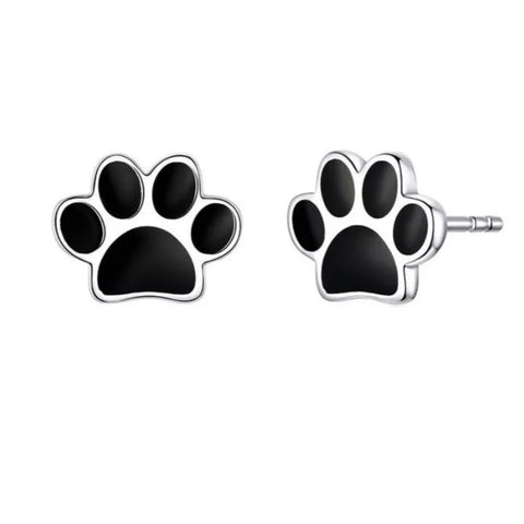 Petra Black Paw Earrings
