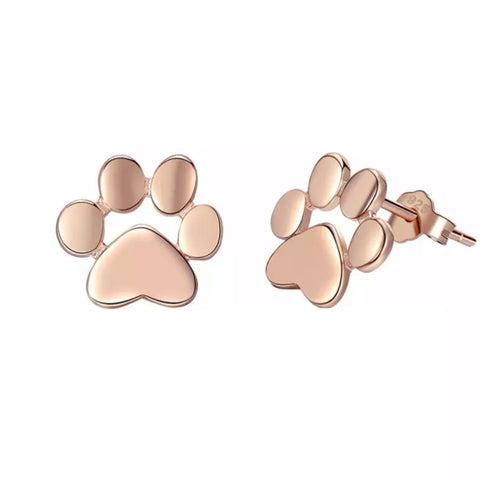 Petra Rose Gold Paw Earrings