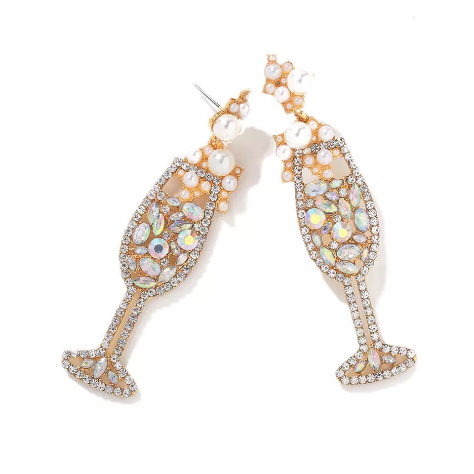 Champagne Petillant Crystal Earrings