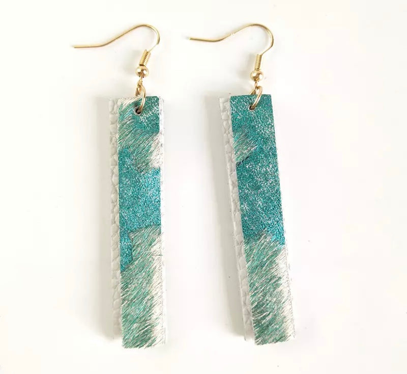 Adele White Aqua Earrings