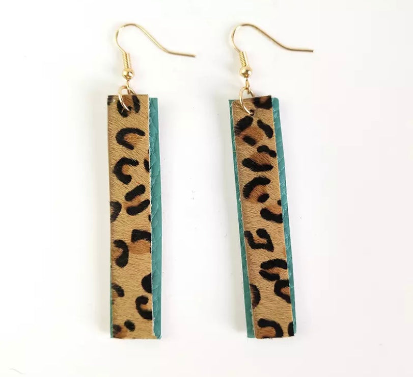 Adele Aqua Leopard Earrings