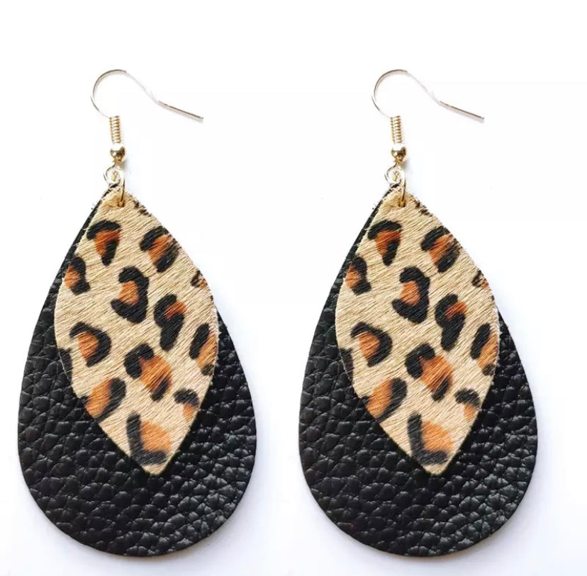 Avril Black Leopard Drop Earrings
