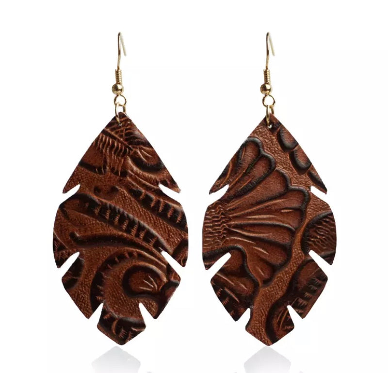 Elidia Embossed Brown Earrings