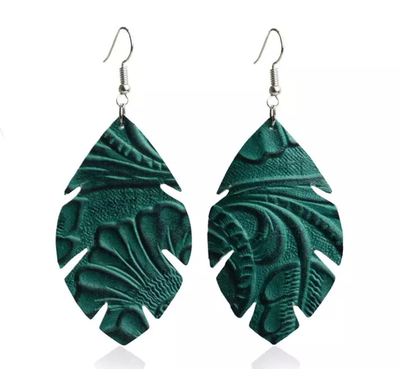 Elidia Embossed Green Earrings