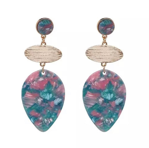 Scarlett Teal/Pink Drop Earrings