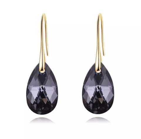 Oceania Gold/Smoke Crystal Earrings