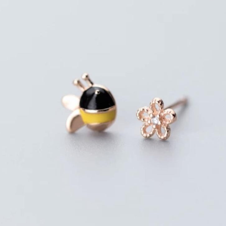 Honey Bee Rose Gold Earrings