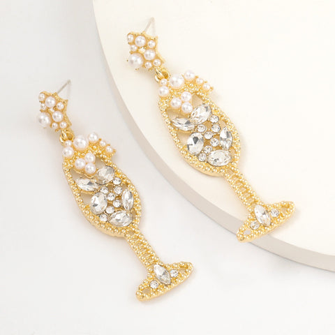 Champagne Petilliant White Earrings
