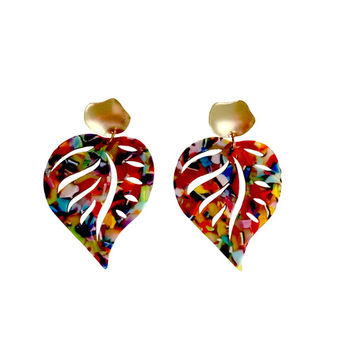 Cadence Rainbow Leaf Earrings