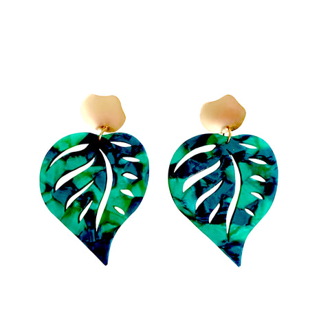Cadence Green Leaf Earrings