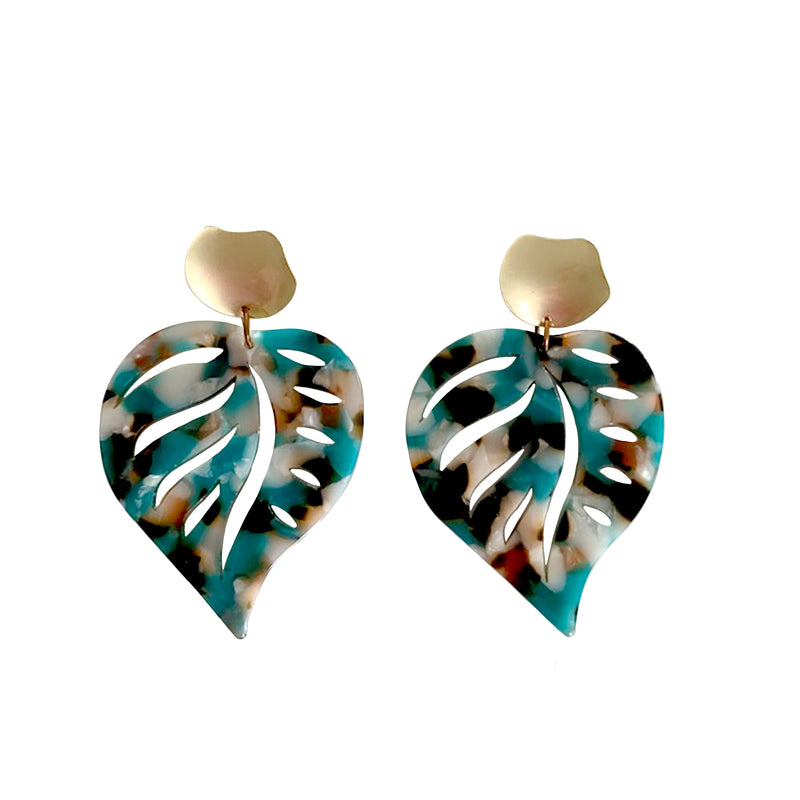 Cadence Teal Leaf Earrings