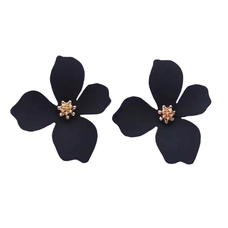 Cherie Petals Black Earrings