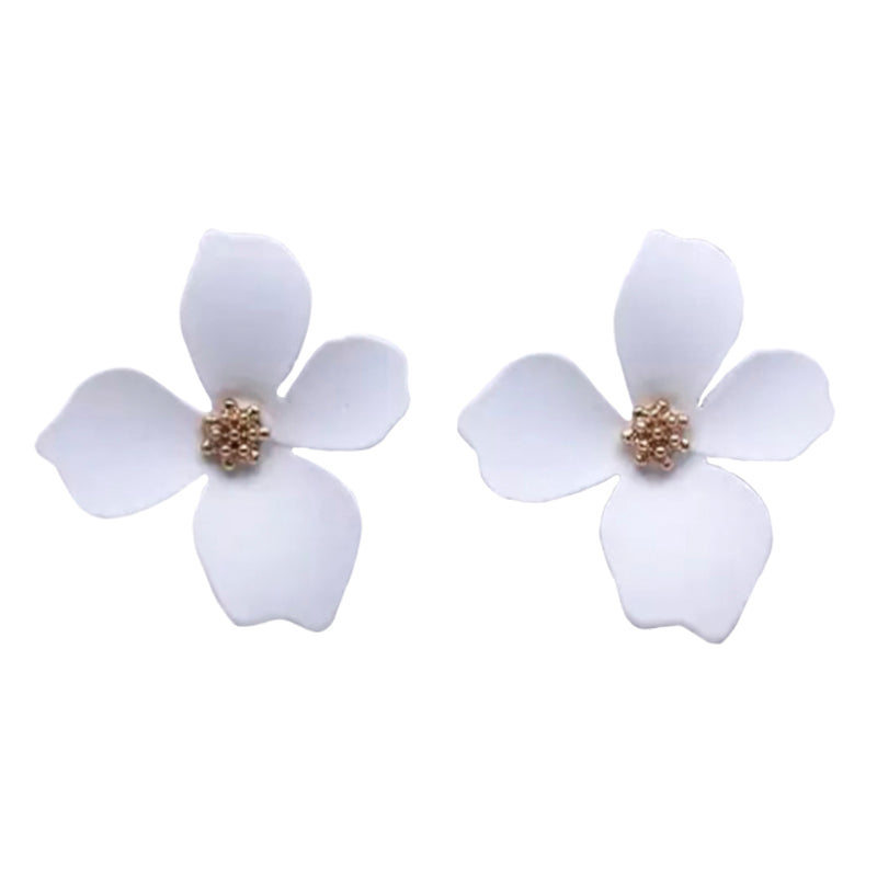 Cherie Petal White Earrings