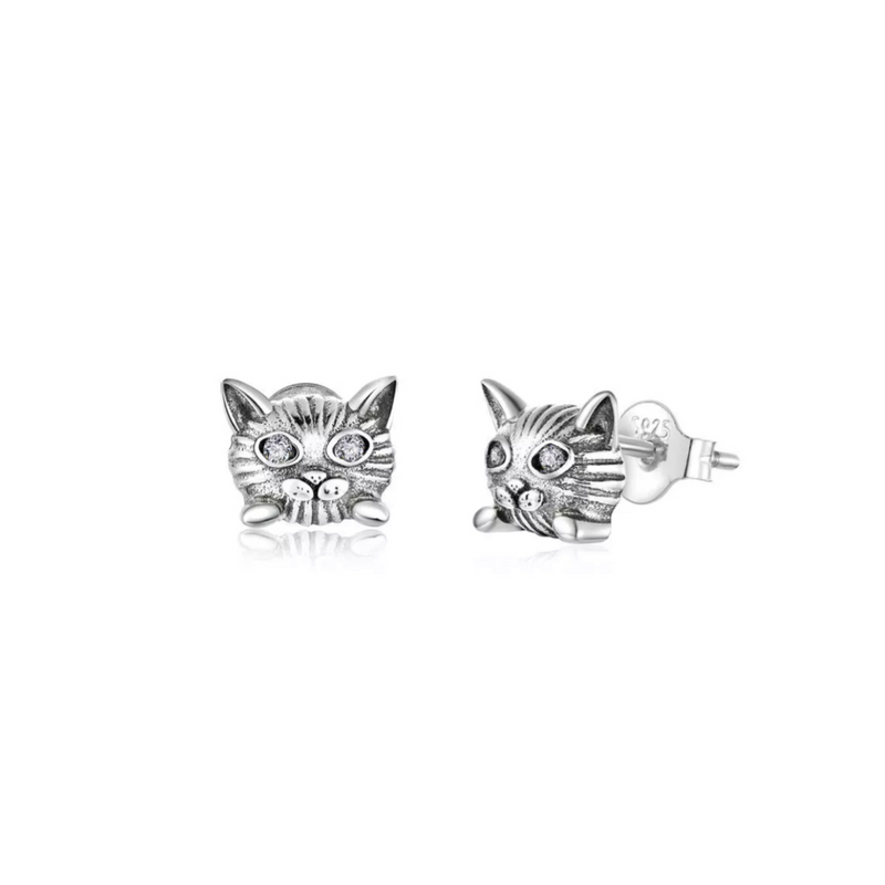 Chloe Cat Sterling Silver Earrings