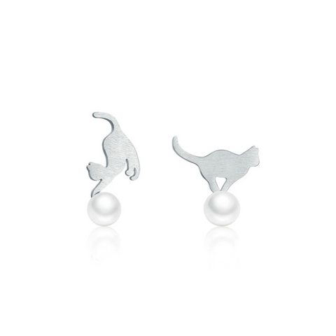 Playful Cats Sterling Silver Earrings