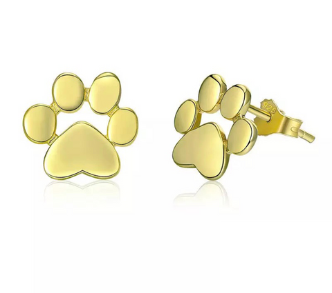 Petra Paw Gold Sterling Silver Earrings