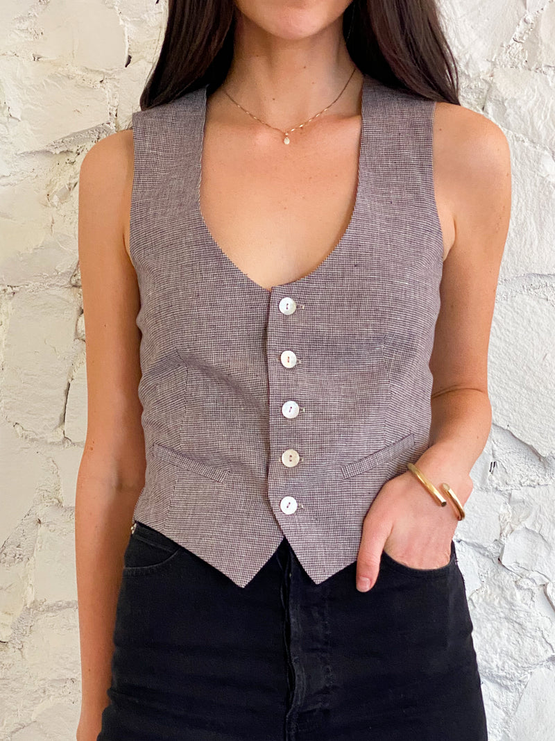 The Vest - Linen Houndstooth