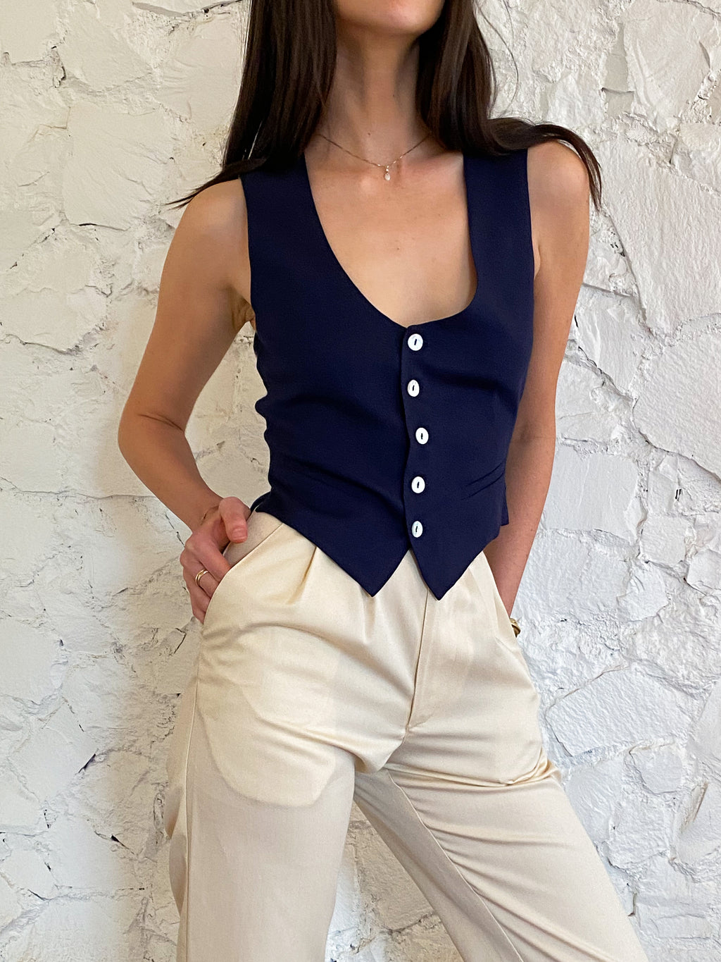 The Vest - Navy Tencel