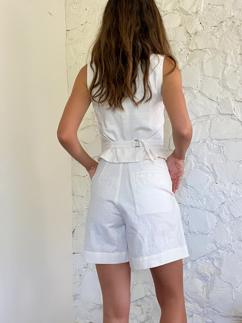 The Shorts - Ivory Linen-Cotton Blend