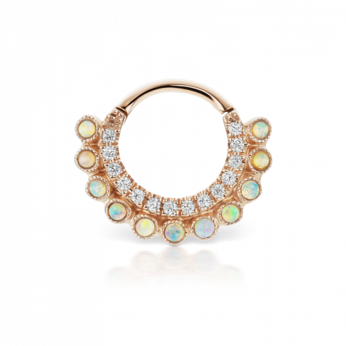 Maria Tash  6.5mm Diamond and Natural Opal Double Sided Apsara Rose Gold