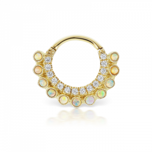 Maria Tash  6.5mm Diamond and Natural Opal Double Sided Apsara Yellow Gold