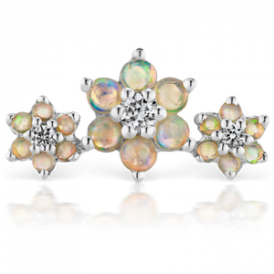 Maria Tash Opal and Diamond Three Flower Garland Threaded Stud