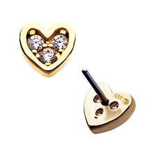 Invictus 14K Gold CZ Heart Threadless End
