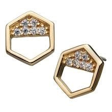 Invictus 14k Gold CZ Hexagon Threadless Ends