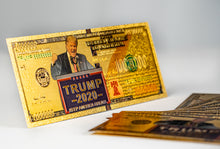 Load image into Gallery viewer, Trump 2020 Gold Dollar Bill