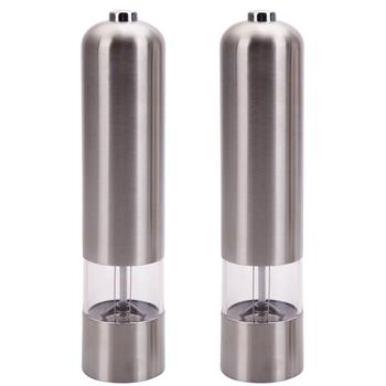 2pcs Stainless Steel Electric Automatic Pepper Mills Salt Grinder Silver
