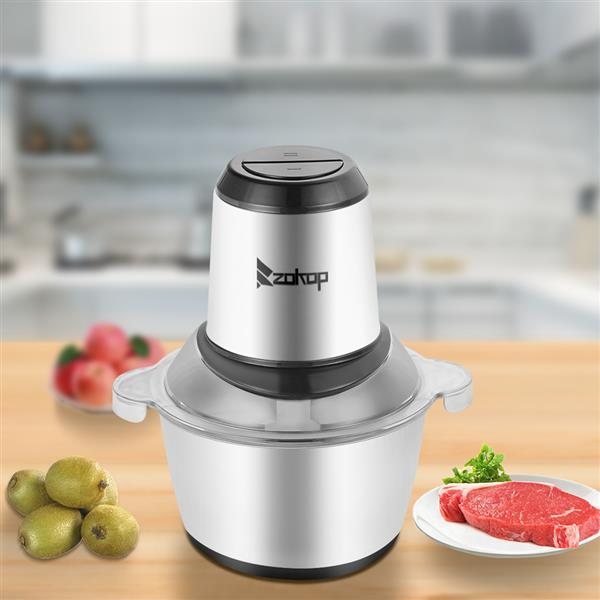 [US-W]ZOKOP US Standard ALW-FC38SS Two Files 110V 300W Household Electric Stainless Steel One-Button Meat Grinder / Mixer 2L 304 Stainless Steel Cup