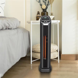 [US-W] ZOKOP American standard HT1053 1500w tower heater digital display 2 quartz tubes black