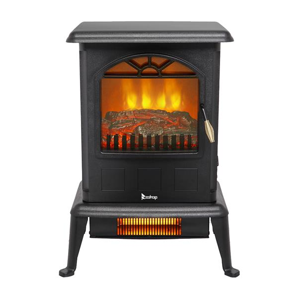 [US-W] ZOKOP American standard HT1108 1500w vertical fireplace mechanical model fake wood single color 2 quartz tubes black [US-W]Infrared Heater / Electric Fireplace / Electric Fireplace Stove