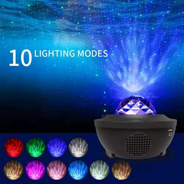Romantic Colorful Starry Sky Ocean Projector Night Light Remote Control Ocean Wave Projection Lamp with Bluetooth Music Speaker