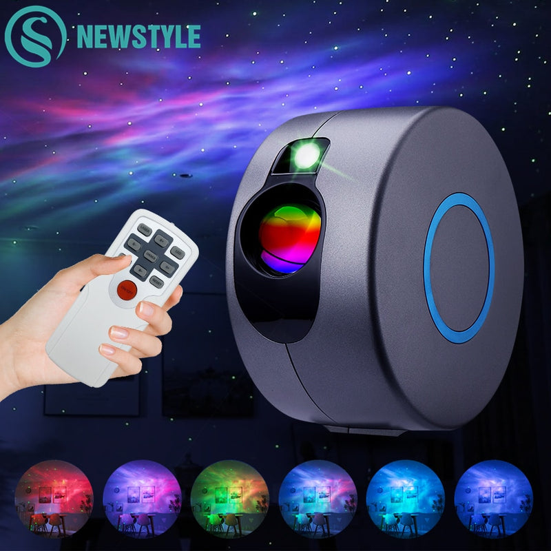 Laser Galaxy Starry Sky Projector Rotating Water Waving Night Light Led Colorful Nebula Cloud Lamp