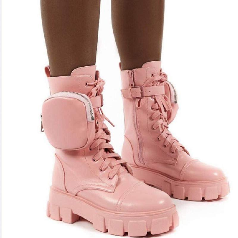 Women New Chunky Platform Ankle Pocket Moto Boots