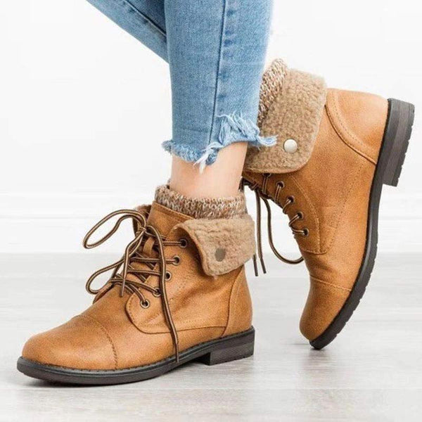 Women New Vintage Sweater Ankle Boots