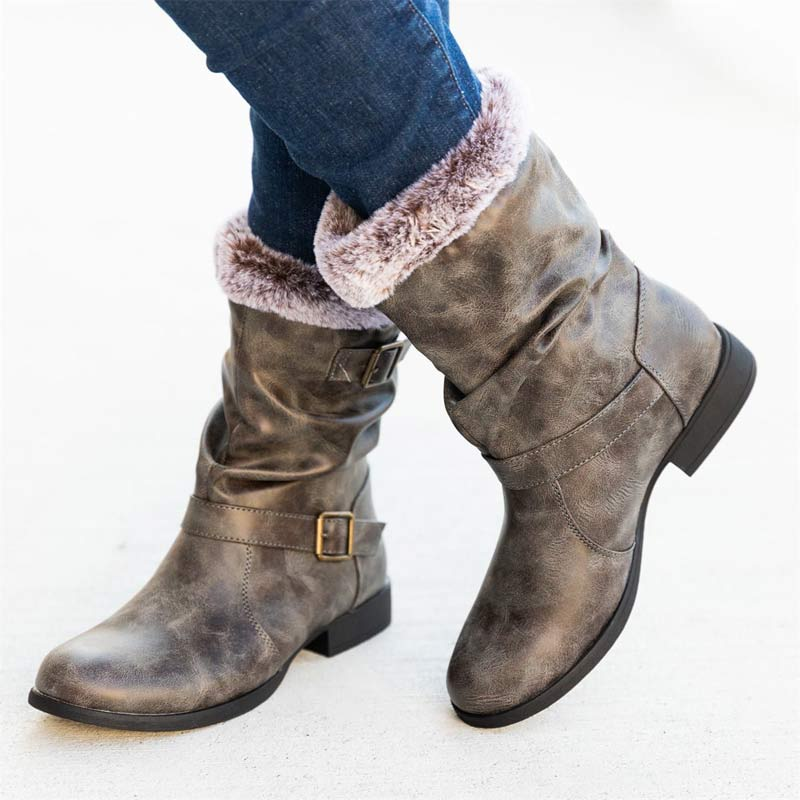 Women Winter Plus Size Sweater Middle Boots