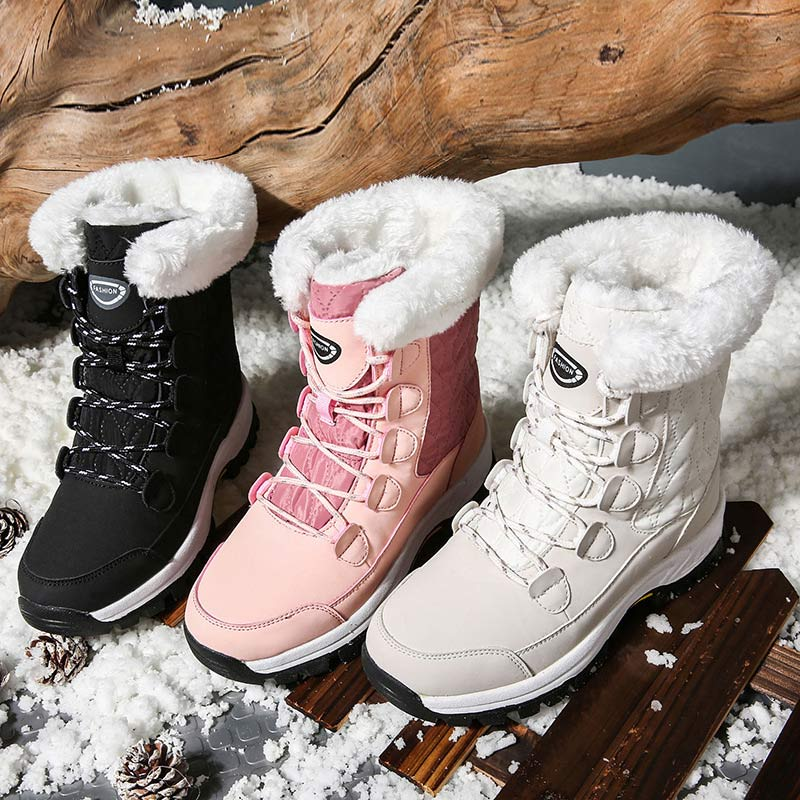 Women Winter Snow Boots Lace-up Warm Plush Mid-Calf Mid-Calf Platform Boots
