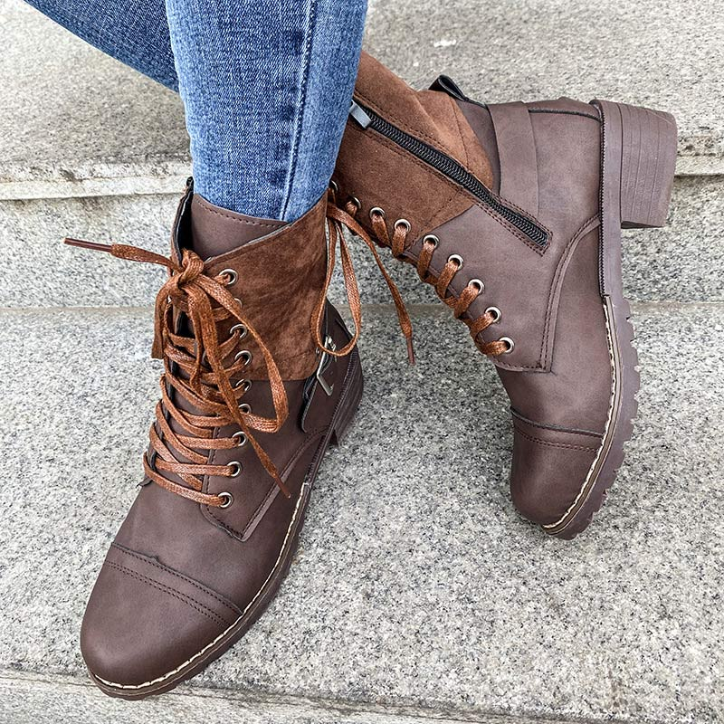 Women Winter Warm Round Toe Square Heel Lace Up Martin Boots