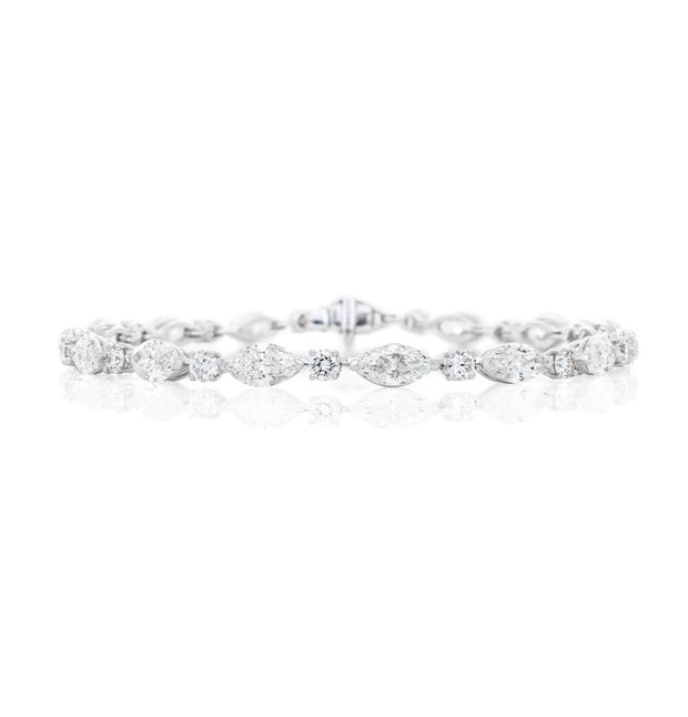 Marquise and Round Brilliant Diamond Bracelet