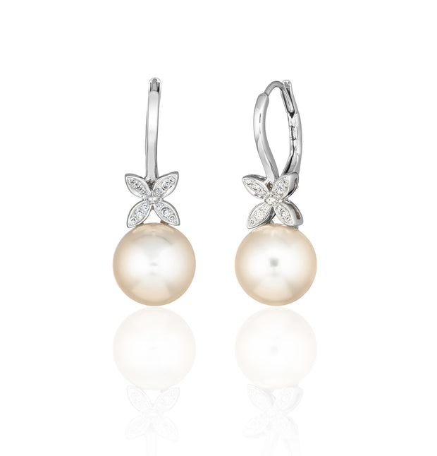 Pearl and Diamond Butterfly Earrings